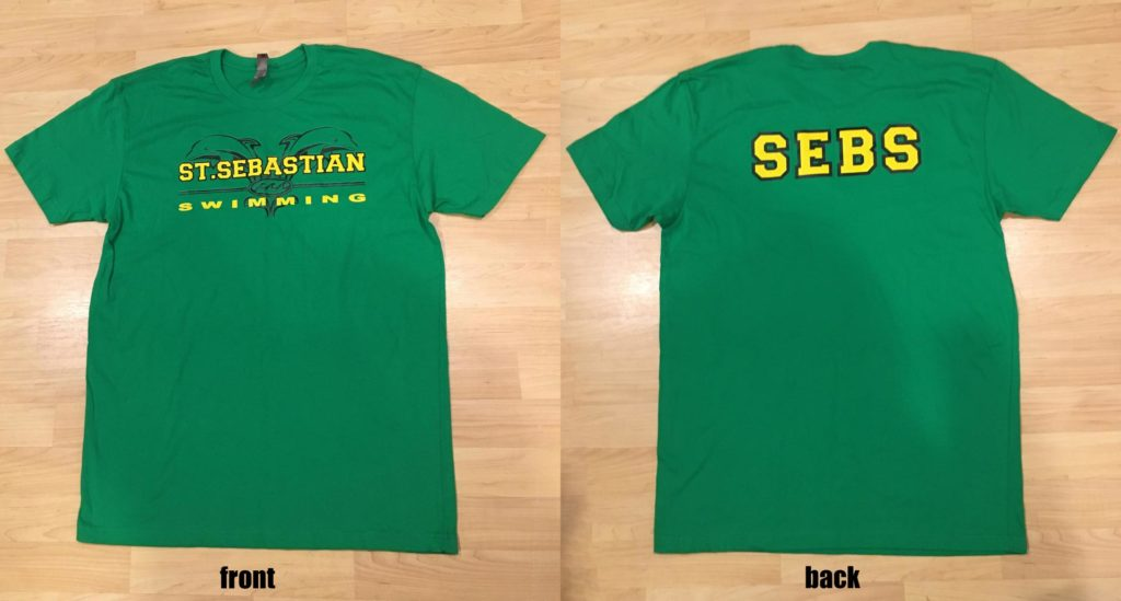 Green St Sebastian swim team t-shirt